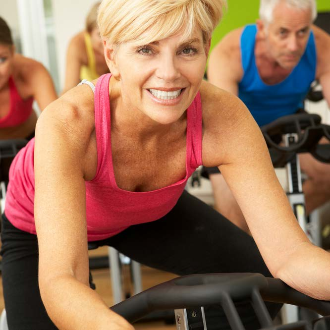 Woman in spin class