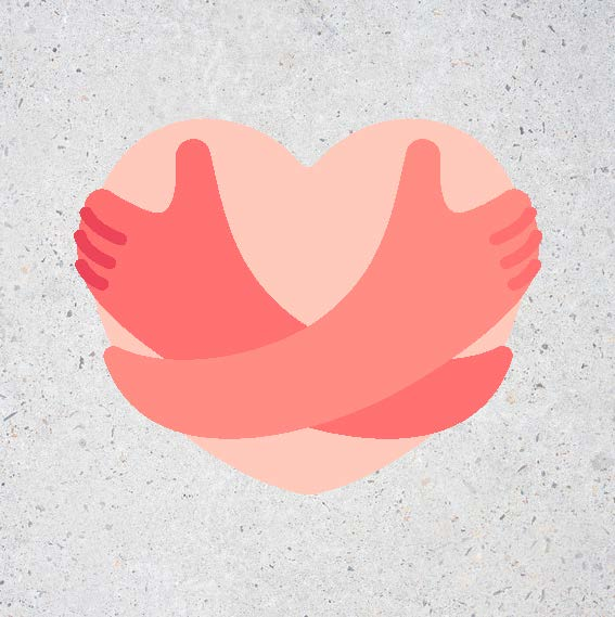 Illustration arms hugging heart